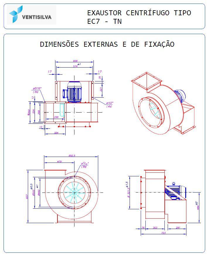 Exaustor Centrífugo - 7,5HP Trifásico | EC7 TN - Ventisilva