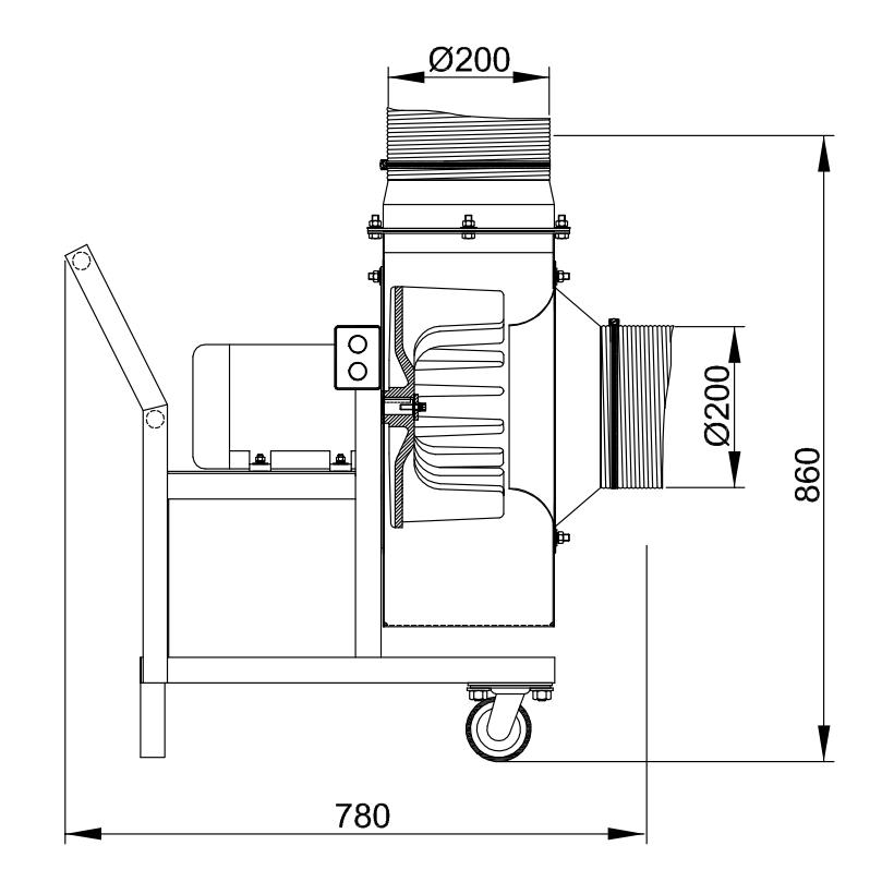 Exaustor Centrífugo De Carrinho - 1,5 HP   CQ3T4 SC FC - Qualitas