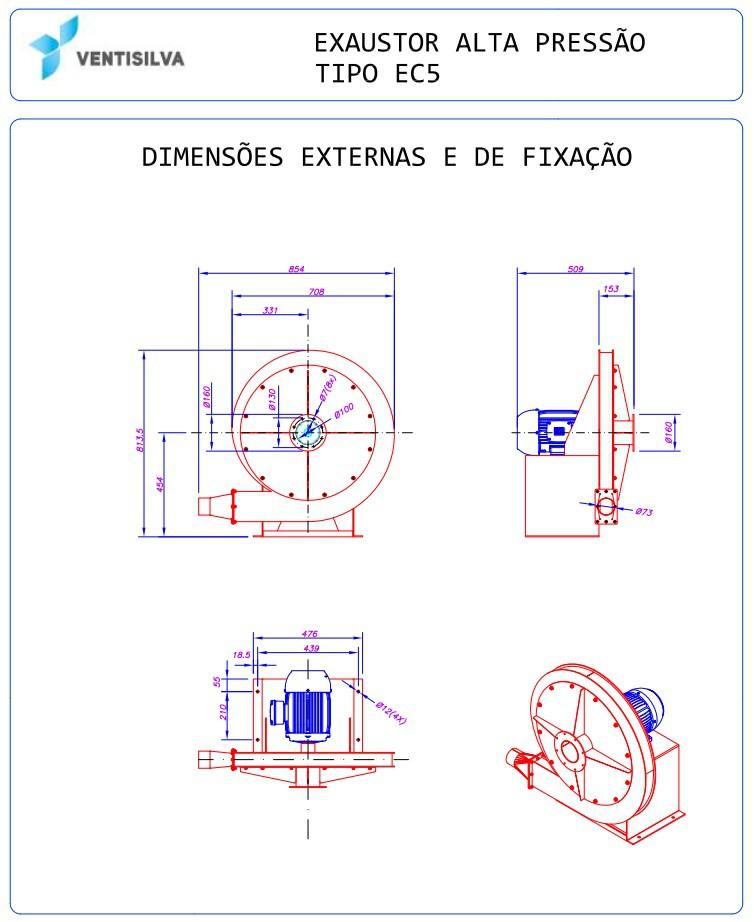 Exaustor Centrifugo Soprador Alta Pressão  Ventisilva 5hp   EC5 AP - Ventisilva