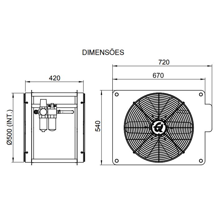 Exaustor Especial Pneumático Ø50cm | EQE500 PN - Qualitas