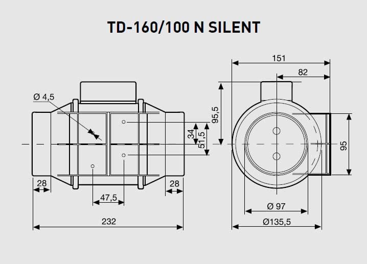 Exaustor Helicocentrífugo Mixvent   TD-160/100 N Silent - Soler & Palau
