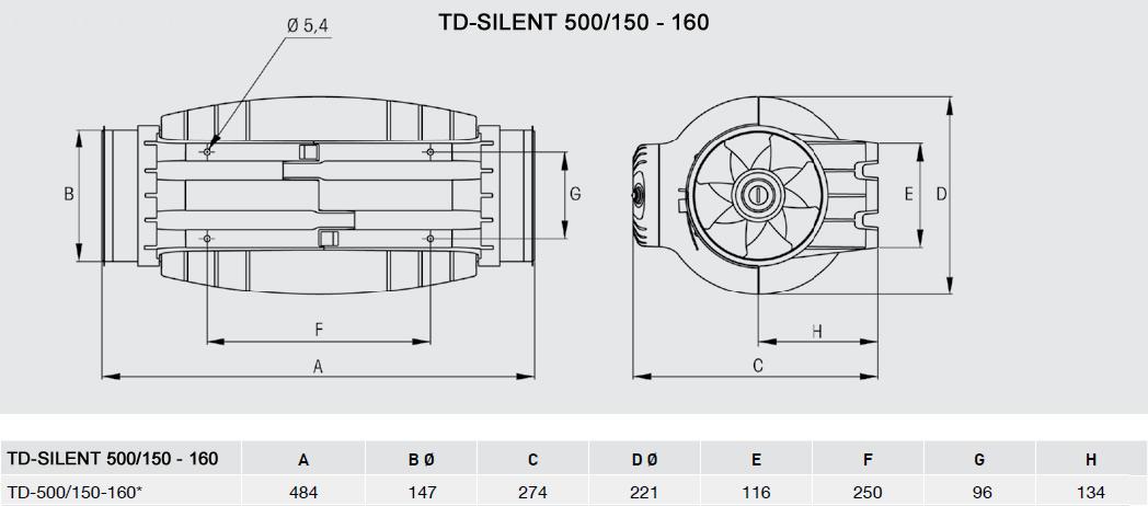 Exaustor Helicocentrífugo InLine   TD-500/150 Silent - Soler & Palau
