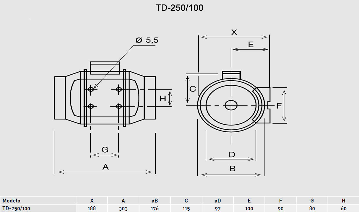 Exaustor Helicocentrífugo Mixvent | TD-250/100 - Soler & Palau