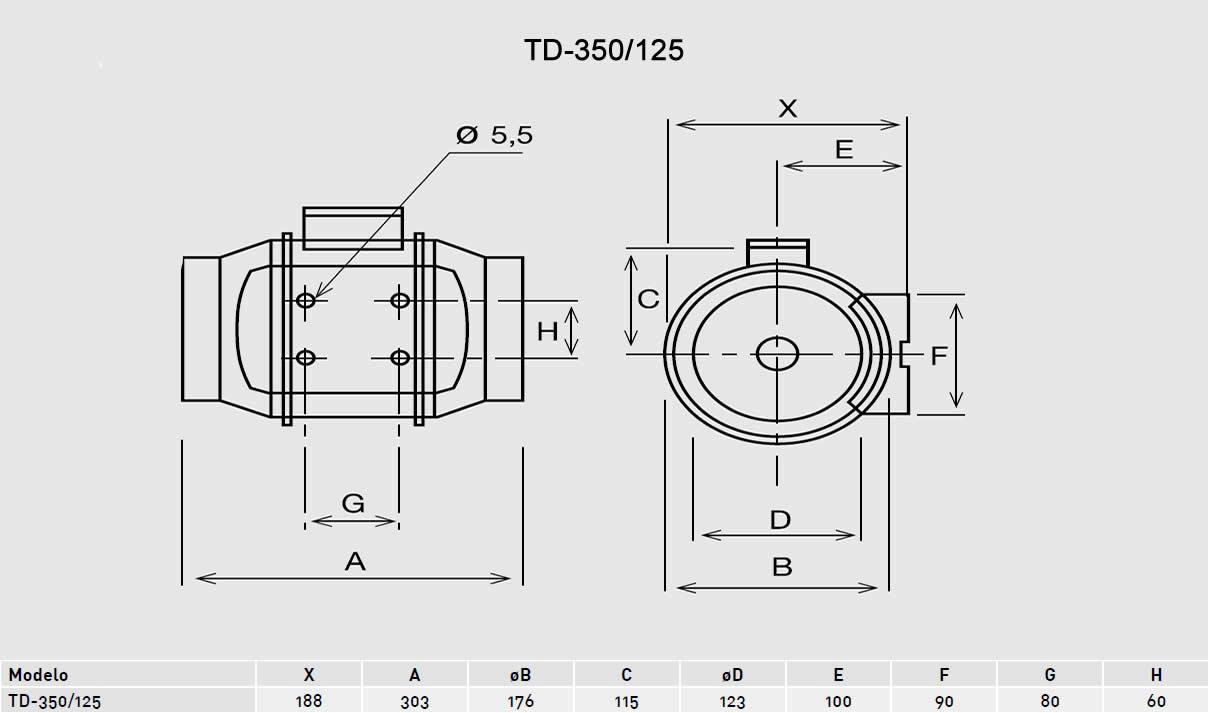 Exaustor Helicocentrífugo Mixvent | TD-350/125 - Soler & Palau