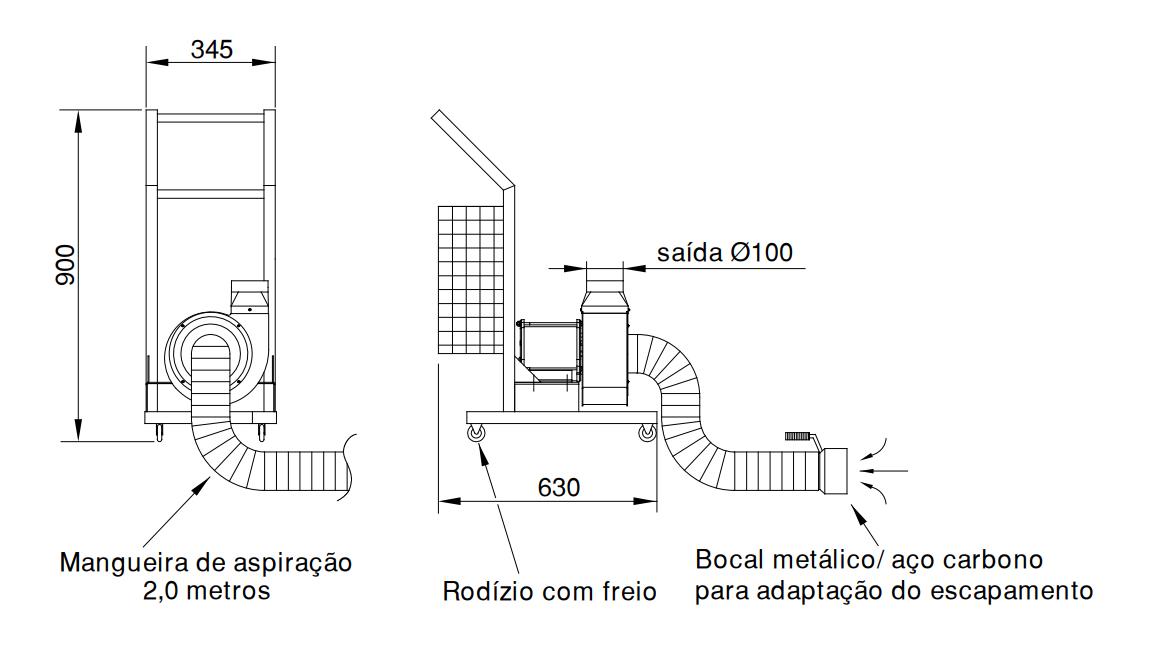Mini Exaustor Coletor De Fumaça Automotiva   MCQ 190 M2 FC - Qualitas