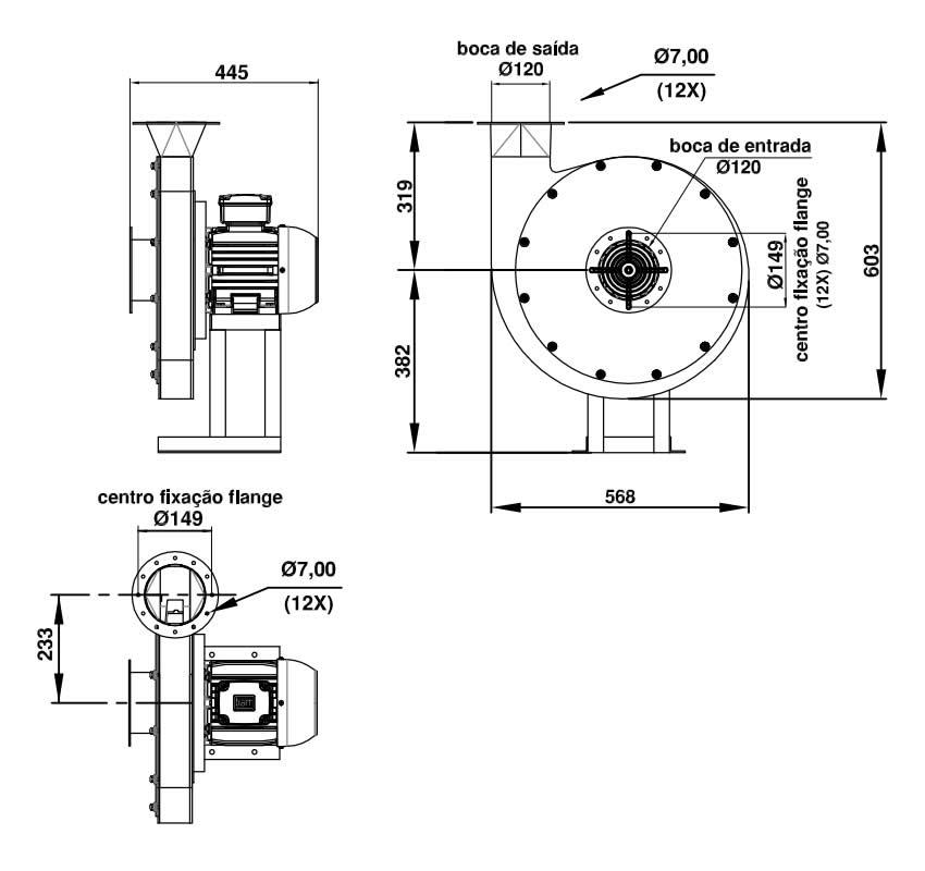 Soprador Centrífugo Alta Pressão - 5 HP   SCQ5 T2 RD - Qualitas