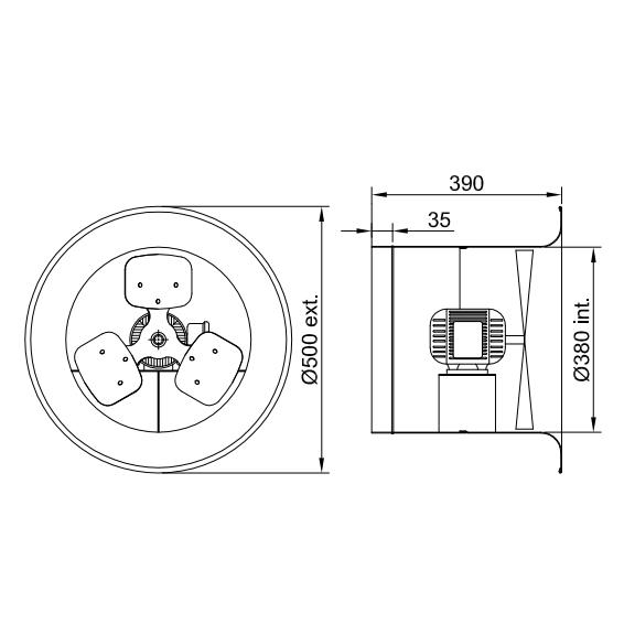 Ventilador Axial 50 X 38 X 39cm  | VAQ14 Naval Alta Vazão - Qualitas