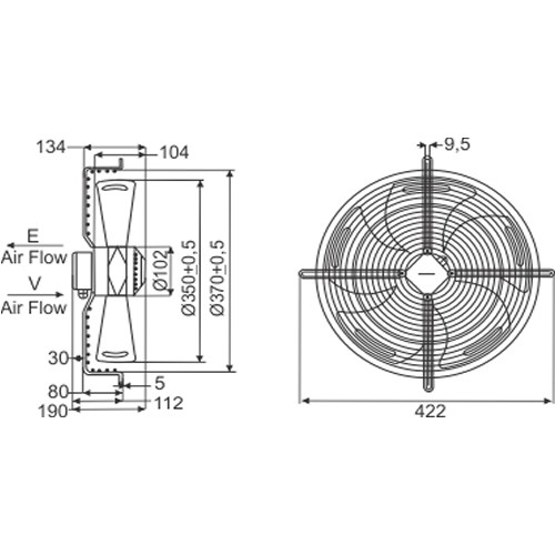 Ventilador / Exaustor Axial 375 X 134mm | RT 350 Nework
