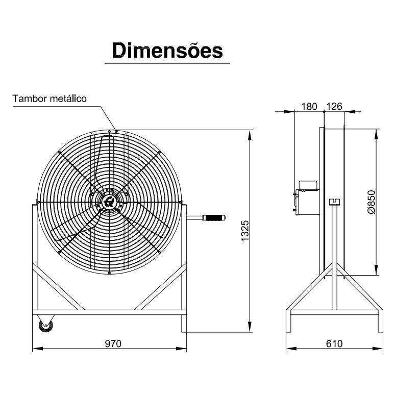 Ventilador Industrial para Aviário 85cm | QLA85 FanCooler Com Grade - Qualitas