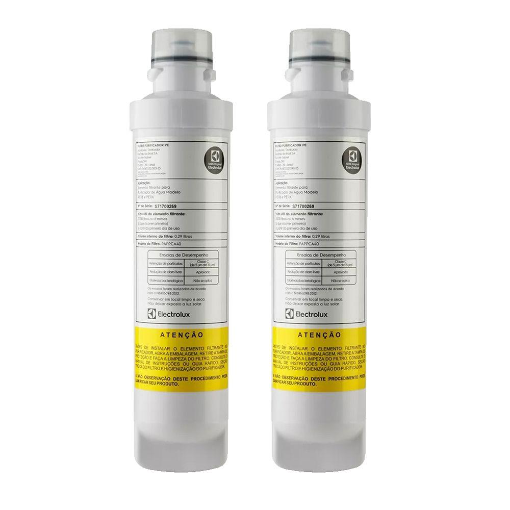 Kit com 02 Refil Filtro Electrolux PAPPCA40 para Purificador de Água PE11B e PE11X - Original