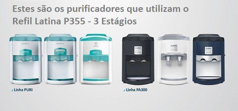 Refil Filtro Latina Original P355 + Par Torneiras Direita e Esquerda + Frete Grátis