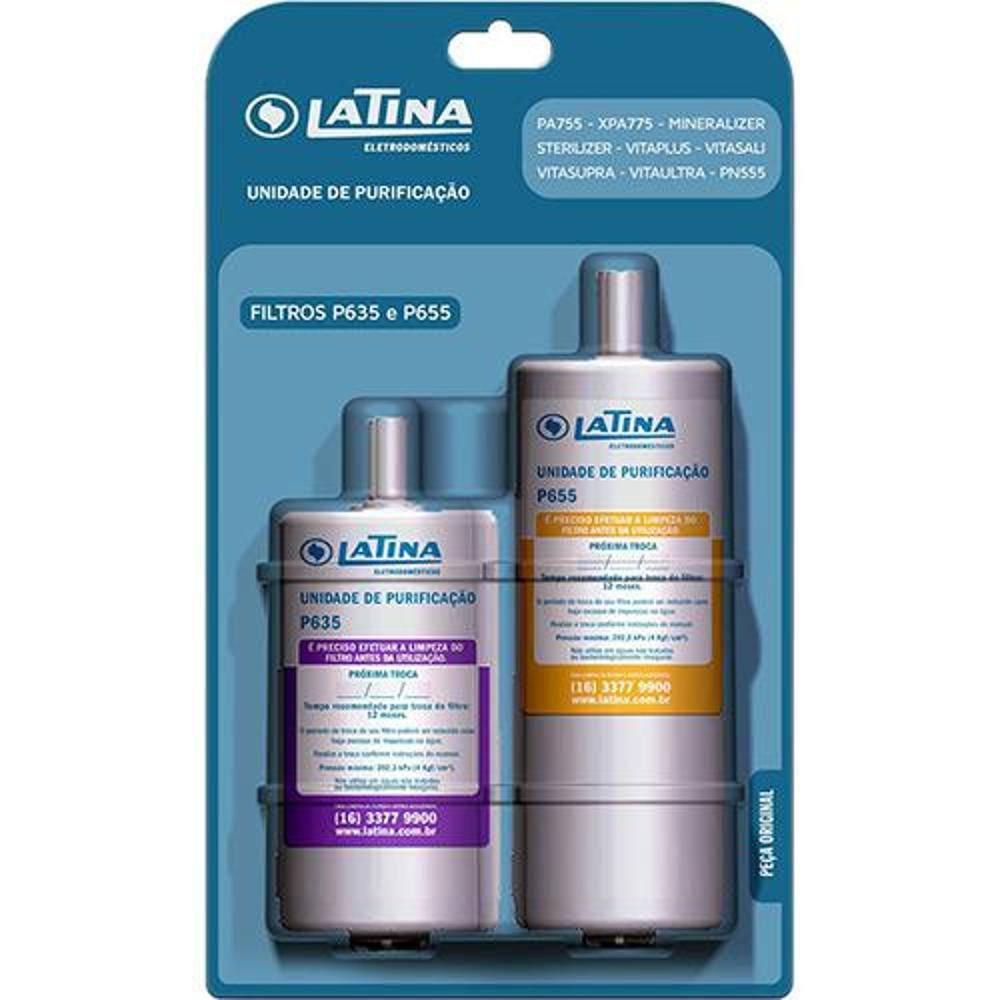 Refil Filtro Latina Original P655 e P635 Kit 2 Peças
