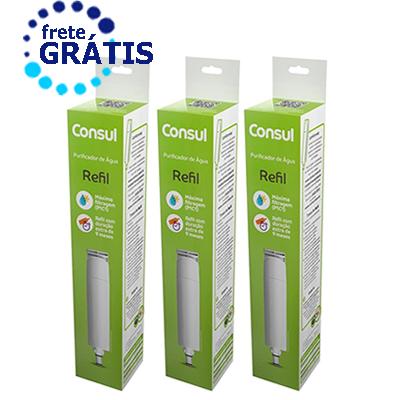 Refil Filtro para Purificador Consul Original Kit 3 Peças + Frete Grátis