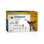 Antipulgas Zoetis Simparic 5 Mg para Cães 1,3 a 2,5 Kg - 3 Comprimidos
