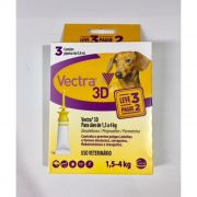 Antipulgas e Carrapatos Ceva Vectra 3D Cães de 1,5 a 4 Kg 0,8 mL 3 Pipetas