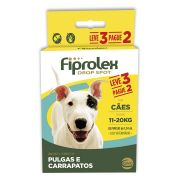 Combo Antipulgas Fiprolex Cães 11 a 20kg Ceva 3 Pipetas