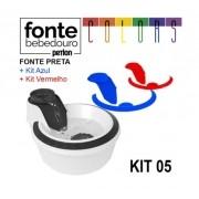 Fonte Bebedouro Gatos Petlon Kit 5(Preto, Vermelho e Azul) 110V