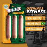 Kit 3 Petisco Roll Doogs Banana e Pasta de Amendoim 140g