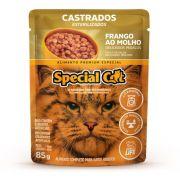 Kit com 12 Ração Úmida Special Cat Sachê Frango Gatos Castrados 85Gr