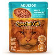 Kit com 12 Ração Úmida Special Cat Sachê Peixe Gatos Adultos 85Gr