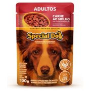 Kit com 12 Ração Úmida Special Dog Sachê Carne  Cães Adultos 100Gr
