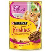 Ração Nestlé Purina Friskies Sachê Mix Carne ao Molho para Gatos 85gr