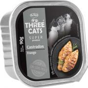 Ração Úmida Three Cats Super Premium Patê Frango Gatos Castrados 90g