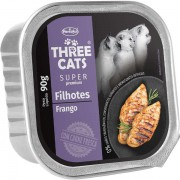 Ração Úmida Three Cats Super Premium Patê Frango Gatos Filhotes 90g
