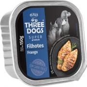 Ração Úmida Three Dogs Super Premium Patê Frango Cães Filhotes 150g