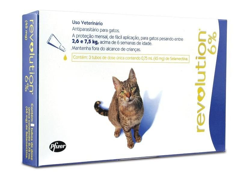 Antipulgas e Carrapatos Zoetis Revolution 6% para Gatos 2,6 a 7,5kg