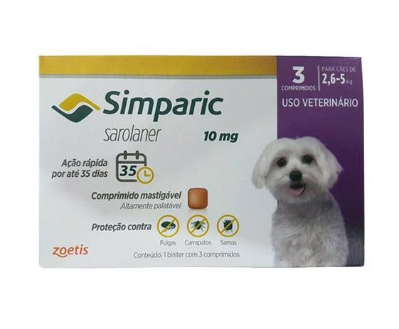 Anti Pulgas Simparic 10 Mg para Cães 2,6 a 5 Kg