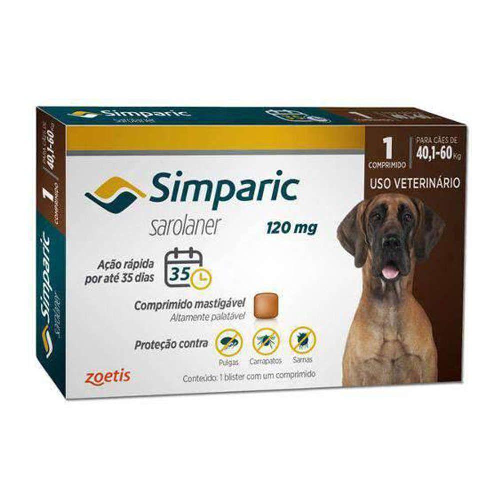 Anti Pulgas Zoetis Simparic 120 Mg para Cães 40,1 á 60 Kg