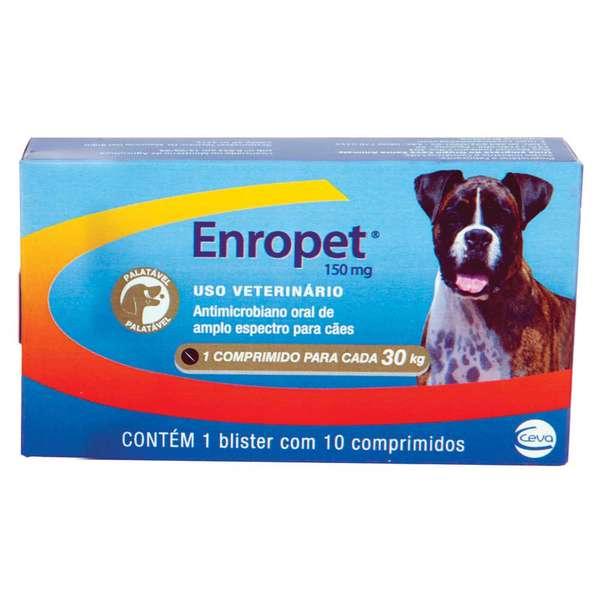 Antibiótico Ceva Enropet 150 mg - 10 comprimidos