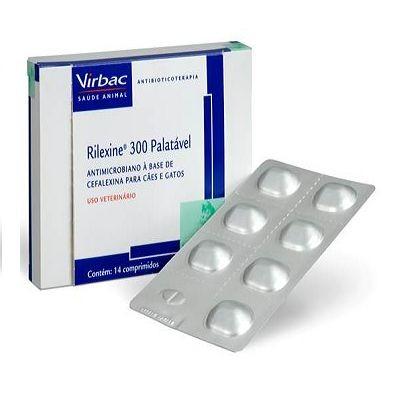 Antibiótico Virbac Rilexine Palatável 300mg para Cães e Gatos - 14 Comprimidos