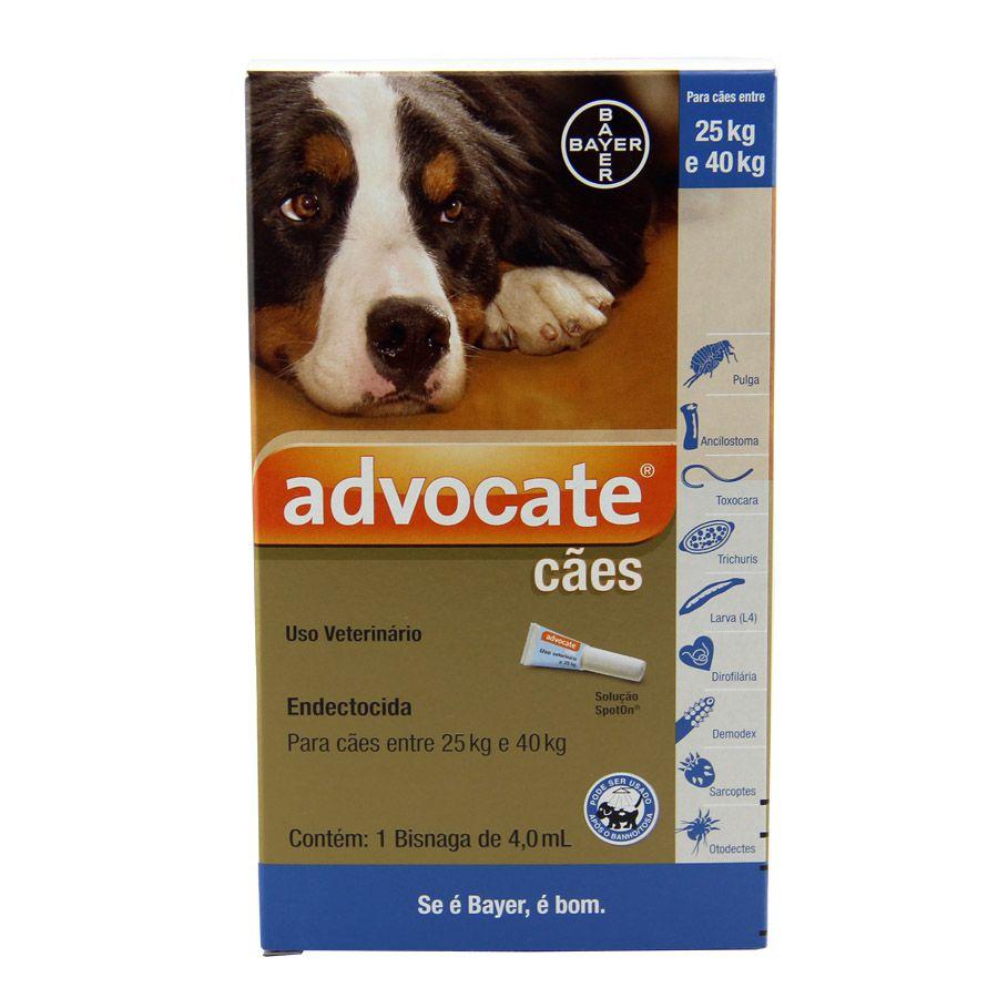 Antipulgas Bayer Advocate Cães de 25 a 40 Kg - 4,0 mL 1 Pipeta