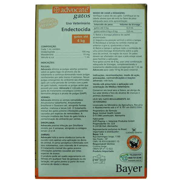 Antipulgas Bayer Advocate Gatos até 4 Kg - 0,4 mL 1 Pipeta