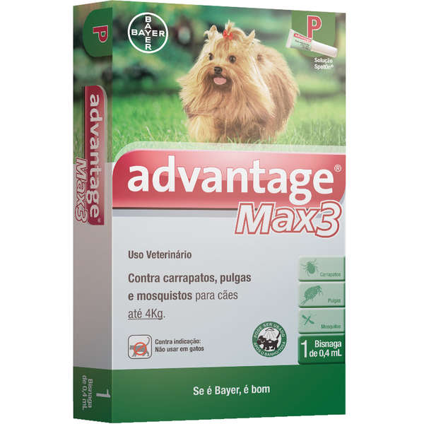 Antipulgas e Carrapatos Bayer Advantage MAX3 Cães Até 4 Kg - 0,4 mL - 3 Pipetas