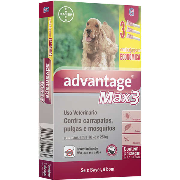 Antipulgas e Carrapatos Bayer Advantage MAX3 Cães de 10 a 25 Kg - 2,5 mL - 3 Pipetas