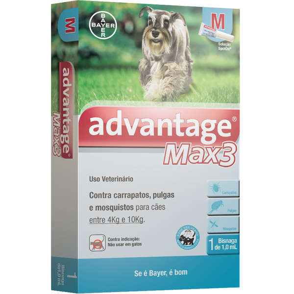 Antipulgas e Carrapatos Bayer Advantage MAX3 Cães de 4 a 10 Kg - 1 mL - 3 Pipetas
