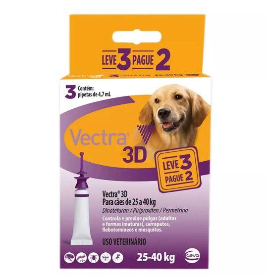 Antipulgas e Carrapatos Ceva Vectra 3D para Cães de 25 a 40 Kg 3 Pipetas