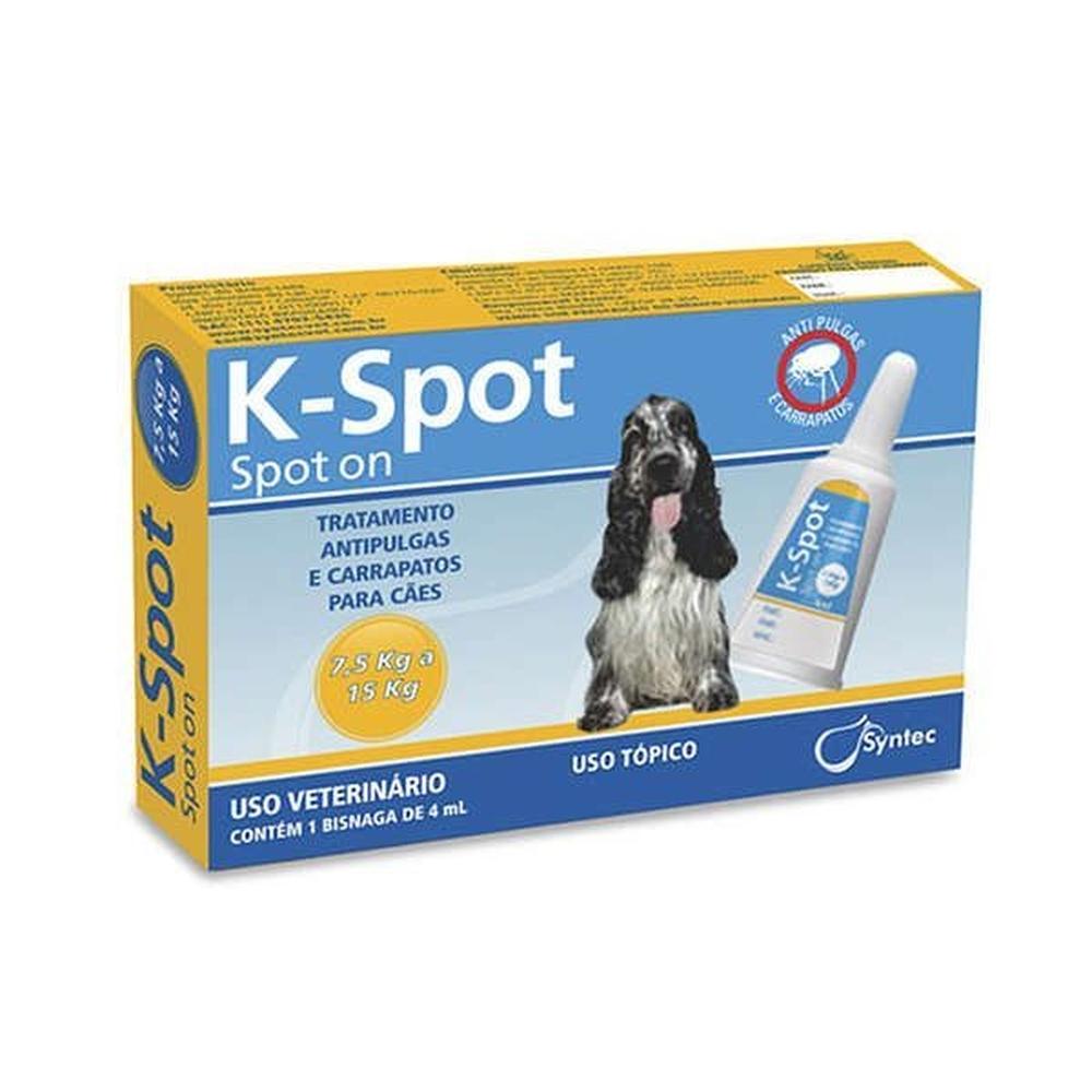 Antipulgas e Carrapatos Syntec K-Spot 4 mL para Cães de 7,5 Kg a 15 Kg