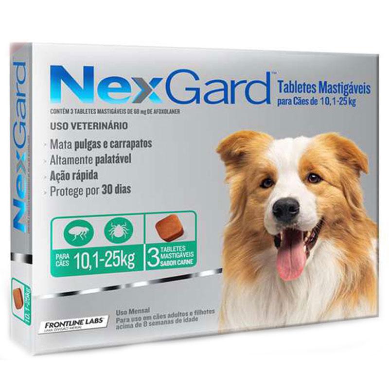 Antipulgas Nexgard para Cães de 10,1 a 25kg Merial 3 Tabletes