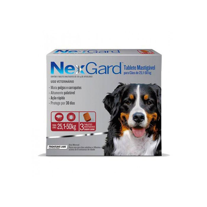 Antipulgas Nexgard para Cães de 25,1 a 50kg Merial 3 Tabletes