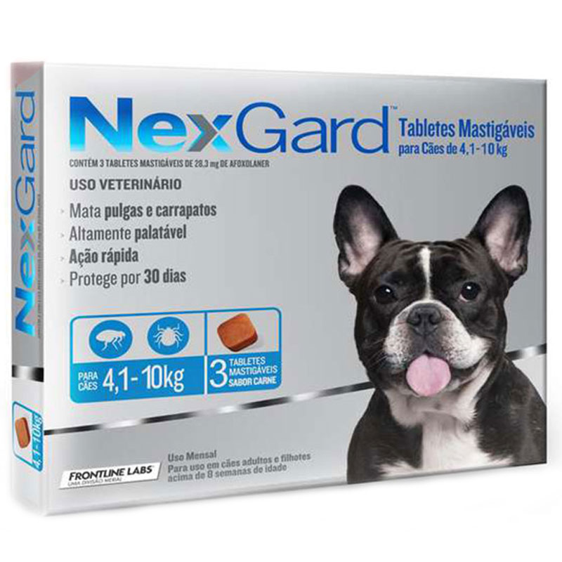 Antipulgas Nexgard para Cães de 4,1 a 10kg Merial 3 Tabletes