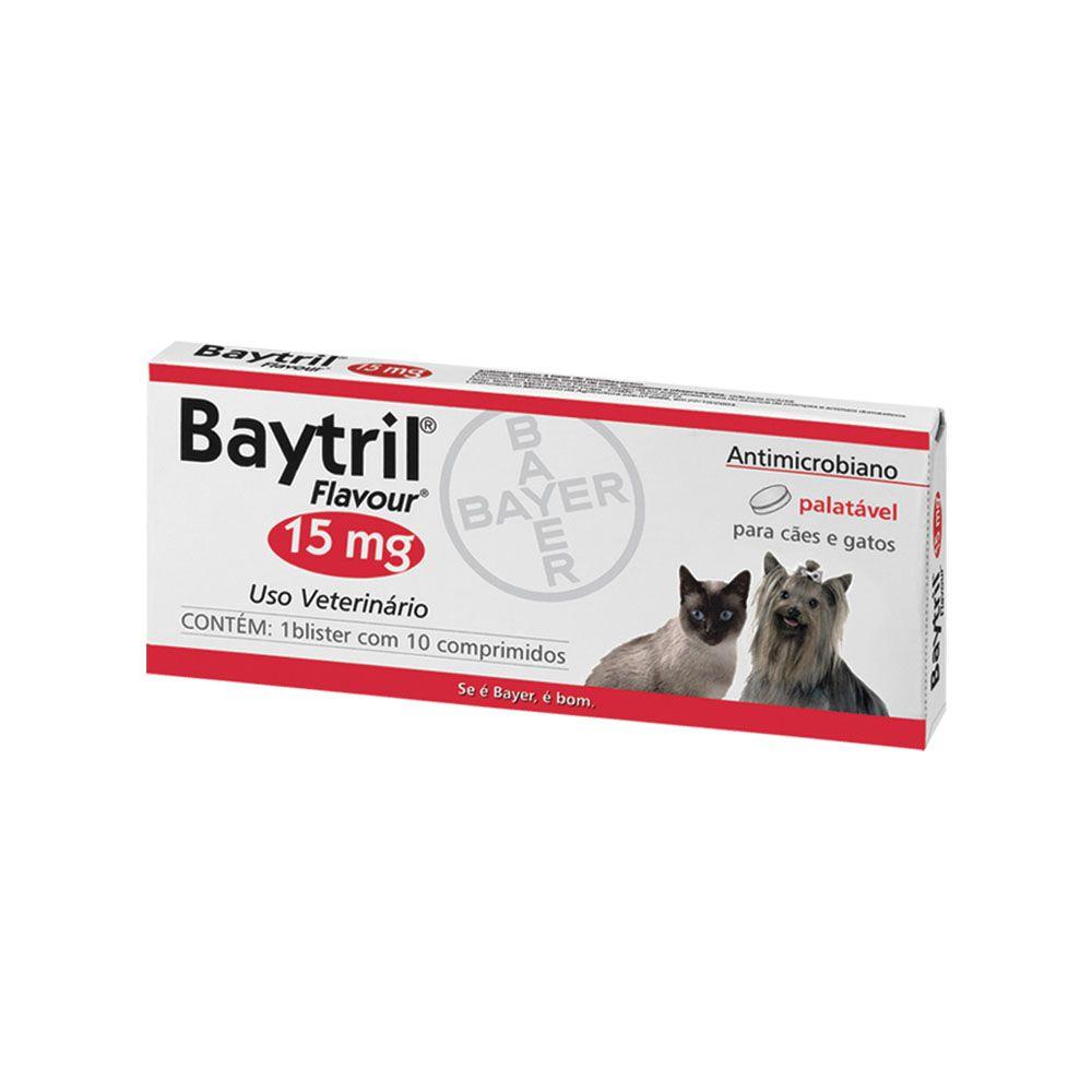 ANTIBIÓTICO BAYTRIL FLAVOUR 15 MG 10 COMPRIMIDOS