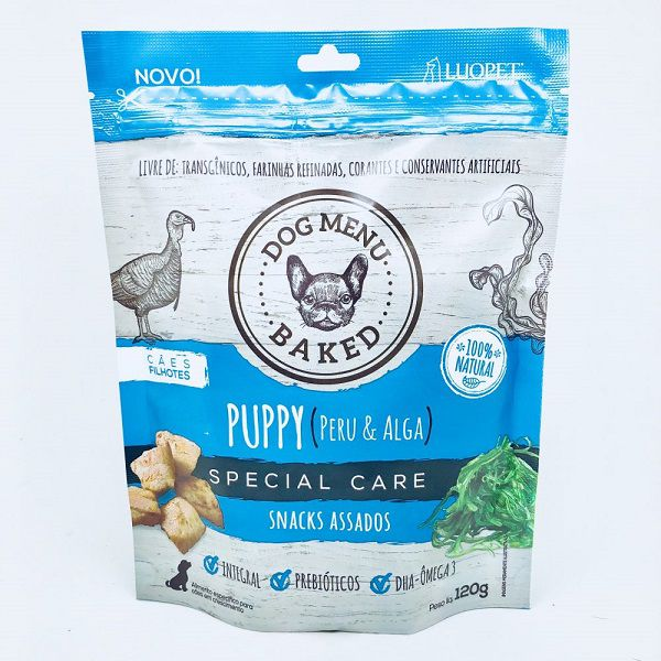 Biscoito Luopet Puppy Sabor Peru e Alga para Cães - 120g