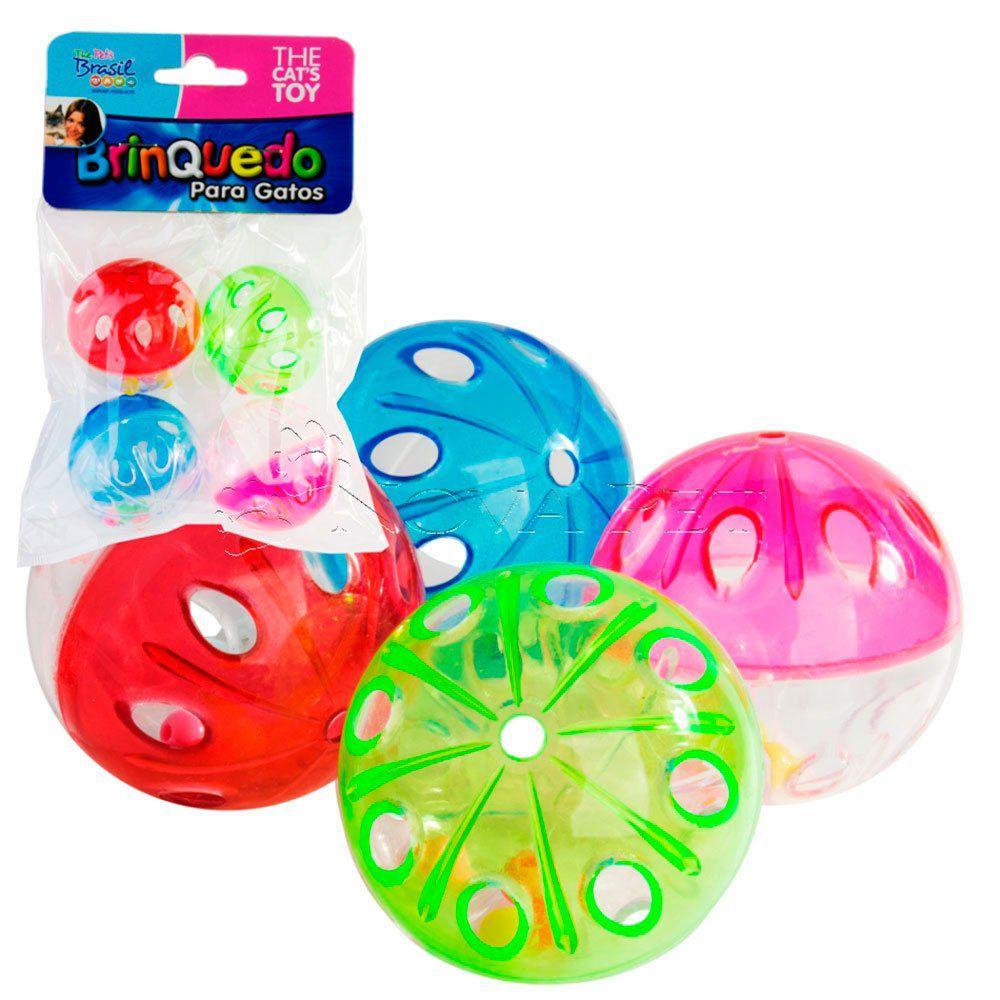 Brinquedo Gato Bolinhas Cristal Com 4 unidades - Cores Variadas