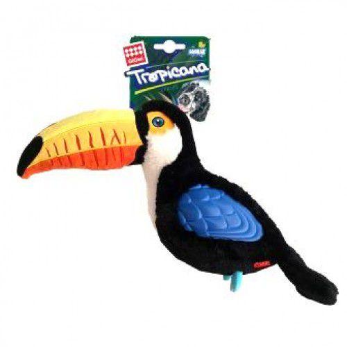 Brinquedo GiGwi Tropicana Pelúcia e Borracha Tucano 40cm.