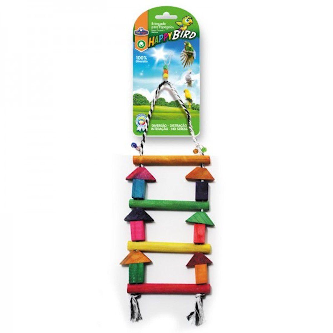 Brinquedo Happy Bird Escada Colorida 36cm para Papagaio