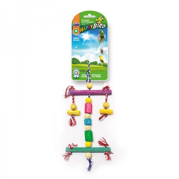 Brinquedo Happy Bird Espantalho de Madeira 33cm Para Papagaio
